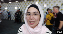 Pengunjung Comic-Con 2019 asal Indonesia, Farah Anindito (Foto: VOA)