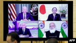 拜登总统3月12日通过视频主持由澳大利亚、印度、日本和美国领导人参加的四方安全对话