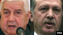 رجب طیب اردوغان، رئیس جمهور ترکیه و ولید المعلم، وزیرخارجۀ سوریه
