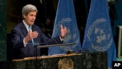 U.S. Secretary of State John Kerry speaks during the Paris Agreement on climate change ceremony, Friday, April 22, 2016 at U.N. headquarters.