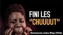 """L'une des photos d'affiche du documentaire intitulé """"les prisonnières du silence"""", sur les viols et abus sexuels sur les filles et femmes au Cameroun, le 3mars 2019. (VOA/Emmanuel Jules Ntap)"""