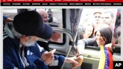ພາບຖ່າຍຈາກຈໍຄອມພິວເຕີ ຂອງເວັບໄຊ້ຄິວບາ Cubadebate ສະແດງໃຫ້ເຫັນທ່ານ Fidel Castro ກຳລັງທັກທາຍ ກັບບັນດາຜູ້ສະໜັບສະໜຸນ ໃນນະຄອນຫລວງ Havana ເມື່ອວັນທີ 30 ມີນາ 2015.