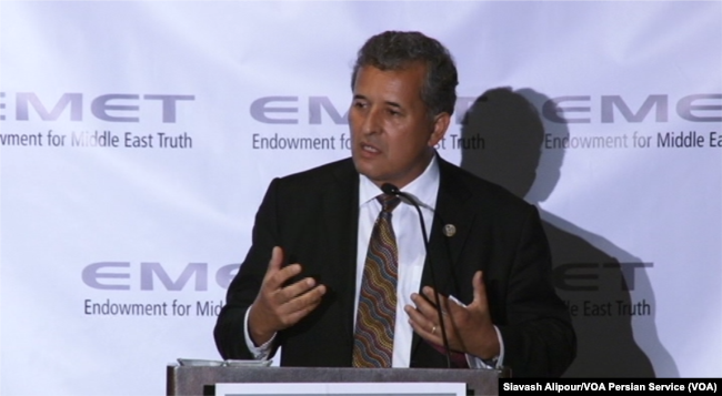 Democrat Congressman Juan Vargas speaks at a Washington dinner held by the Endowment for Middle East Truth, June 14, 2017.