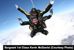 The former president went sky diving to celebrate his 90th birthday.