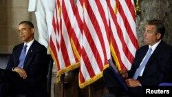 Serok Obama, yê Demokrat, û Serokê Civata Nûneran John Boehner, yê Komarî.