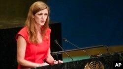 사만사파워유엔주재미국대사는 26일 미국 뉴욕 유엔 본부에서 열린 유엔 총회에서 발언하고 있다.