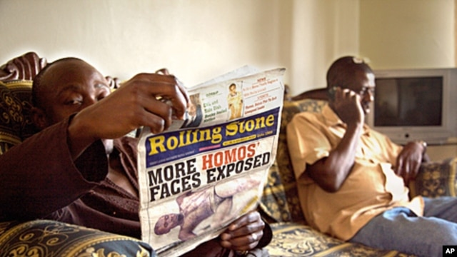 Tabloid newspapers in Uganda have targeted gays - even calling for their murder - as seen in this still from Call Me Kuchu.