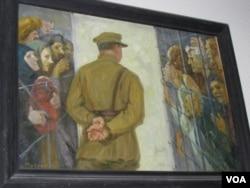 莫斯科古拉格博物馆中展出的反映斯大林大清洗的油画。(美国之音白桦)