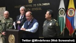 Ministro de Defensa de Colombia Luis Carlos Villegas rinde informe sobre reducción de homicidios en Colombia. Foto Twitter @Mindefensa