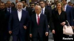 موگرینی، آمانو و ظریف بعد از آغاز اجرای برجام