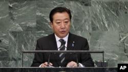 Perdana Menteri Jepang, Yoshihiko Noda berpidato di hadapan Majelis Umum PBB di Markas Besar PBB, New York (26/9). Noda mengatakan negaranya tidak bersedia berkompromi dengan Tiongkok terkait kepulauan sengketa.