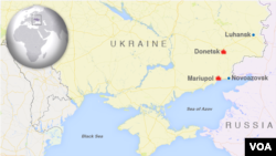 Peta wilayah Mariupol dan Donetsk di Ukraina Timur (Foto: dok).