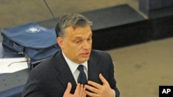 Hungary's PM Viktor Orban addresses the European Parliament in Strasbourg, Jan. 18, 2012
