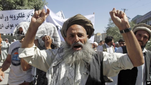 "An Afghan man shouts anti-Pakistan slogans during a demonstration in Kabul. Around 150 Afghans took to the streets in the capital Kabul on Saturday, chanting ""Death to Pakistan"" in protest against the weeks of cross-border shelling of two eastern province"