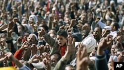 Anti-government protesters react in Tahrir Square, Cairo, Egypt, February 4, 2011