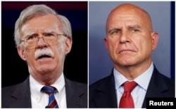 FILE - Former U.S. Ambassador to the United Nations John Bolton, left, speaks in Oxon Hill, Maryland, Feb. 24, 2017, and White House National Security Adviser H.R. McMaster joins the daily briefing in Washington, July 31, 2017, in this combination photograph.