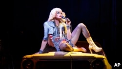 """Neil Patrick Harris in a scene from """"Hedwig and the Angry Inch,"""" at the Belasco Theatre in New York. (AP)"""