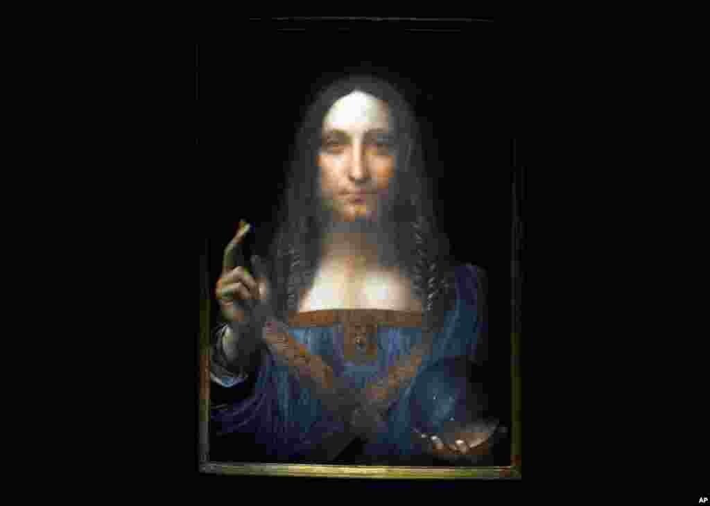"""Zane mai suna """"Salvator Mundi"""" wanda Leonardo da Vinci ya zana a wajejen shekarar 1500 miladiyya. Ma'anar Salvator Mundi, Macecin Duniya."""