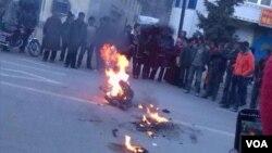 藏人自焚資料照。