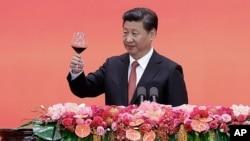 Chủ tịch Trung Quốc Tập Cận Bình trong buổi tiếp tân kỷ niệm lần thứ 70 ngày Nhật Bản đầu hàng trong Thế chiến II ở Bắc Kinh, 3/9/2015.
