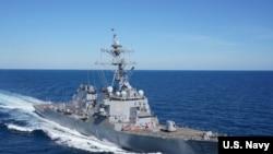 """美國海軍""""菲茨杰拉德號""""伯克級導彈驅逐艦2020年2月2日出海(美國海軍照片)"""