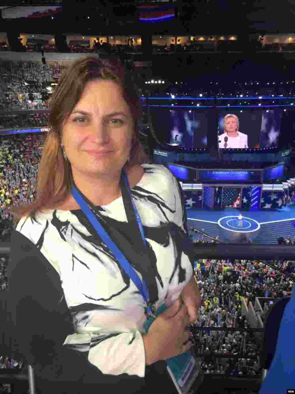 VOA Albanian's Keida Kostreci as Hillary Clinton speaks on the stage at the DNC.