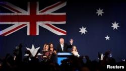 澳大利亞總理斯科特.莫里森競選連任成功後同家人和支持者在悉尼慶賀 (2019年5月18日)