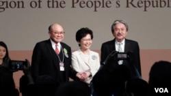 خانم کری لم در کنار دو نامزد دیگر ریاست اجرایی هنگ کنگ