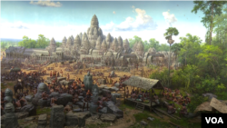 3D drawings depicting Angkorian era by North Korean artists on display at the Angkor Panorama Museum, in Sieam Reap province. (Pin Sisovann/VOA Khmer)