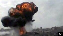 Gambar amatir ini menunjukkan ledakan diduga terjadi di Homs (foto: dok).