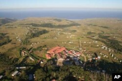 An aerial view of Zithulele Hospital (in foreground) in South Africa's isolated and impoverished Oliver Tambo District