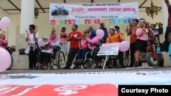 Kampanye kesadaran publik atas hak penyandang disabilitas oleh SIGAB Yogyakarta (Foto: kopeks SIGAB YOGYA).