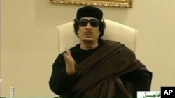 Still image from a video shows Gaddafi gesturing as he speaks at a Tripoli hotel (file photo)