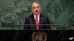 多米尼加共和国总统梅迪纳在联大会议上发言。(2018年)