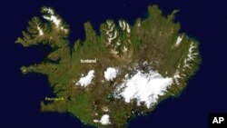 Iceland as seen from space, with Vatnajökull appearing as a white area to the lower right