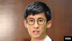 青年新政立法會議員梁頌恆。(美國之音記者湯惠芸拍攝)