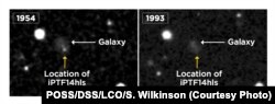iPTF14hls (left), not seen in a later image taken in 1993 (right). Supernovae are known to explode only once, shine for a few months and then fade, but iPTF14hls experienced at least two explosions, 60 years apart. Adapted from Arcavi et al. 2017, Nature.