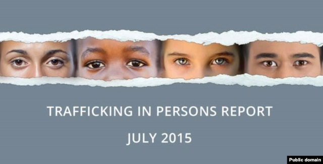 Cover of US State Department's 2015 report on Human Trafficking, released on July 27, 2015.