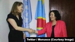 La princesse jordanienne Sarah Zeid, ambassadrice de bonne volonté du Programme alimentaire mondial (PAM), salue la patronne de la Mission des Nations unies en RDC (Monusco), Leila Zerrougui, à Kinshasa, RDC, 12 juin 2018. (Twitter/Monusco)