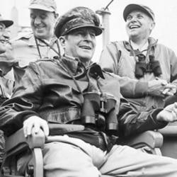 General MacArthur arrives at Incheon Harbor in South Korea in September 1950