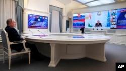 Rossiya rahbari Vladimir Putin Kollektiv xavfsizlik shartnomasi tashkiloti videoanjumanida, Moskva, 23-avgust, 2021