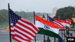 美國和印度國旗。 (美聯社資料照)