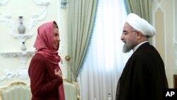 دیدار فدریکا موگرینی مسئول سیاست خارجی اتحادیه اروپا با حسن روحانی رئیس جمهوری ایران - تیر ۱۳۹۴