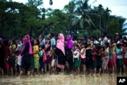 Muslim Rohingya, yang baru-baru ini meninggalkan Myanmar menuju Bangladesh, menanti pembagian makanan dekat kamp pengungsi Balukhali di Cox's Bazar, Bangladesh, 19 September 2017.