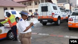 Superintendent Edna Mamonyane, at the Johannesburg Metro Police Department headquarters, says the nation's drivers are 'addicted to speed.' (D. Taylor/VOA)