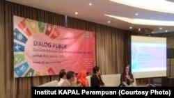 Dialog Publik Gerakan Advokasi Data Responsif Gender dan Inklusif untuk Tujuan Pembangunan Berkelanjutan (TPB) atau Sustainable Development Goals (SDGs) di Jakarta, Selasa, 25 September 2018. (Foto: Institut KAPAL Perempuan)