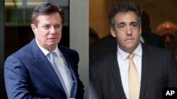 2018年資料照﹕川普競選團隊前主席馬納福特離開華盛頓聯邦法庭(左)﹔美國總統川普前律師科恩(右)離開紐約聯邦法庭照。