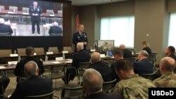 존 하이튼 미 전략사령부 사령관이 28일 워싱턴 DC 인근 알링턴에서 열린 안보 토론회에서 미군의 미사일방어체계에 대해 발언하고 있다.