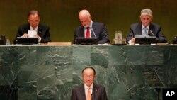 Jim Yong Kim, président de la Banque mondiale, prenant la parole au sommet sur les réfugiés et les migrants, le 19 septembre 2016.