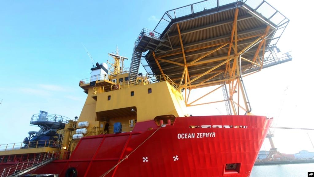 The Nekton Mission's Ocean Zephyr supply ship stands docked in Bremerhaven, Germany, Wednesday Jan. 23, 2019. (AP Photo/Stephen Barker)